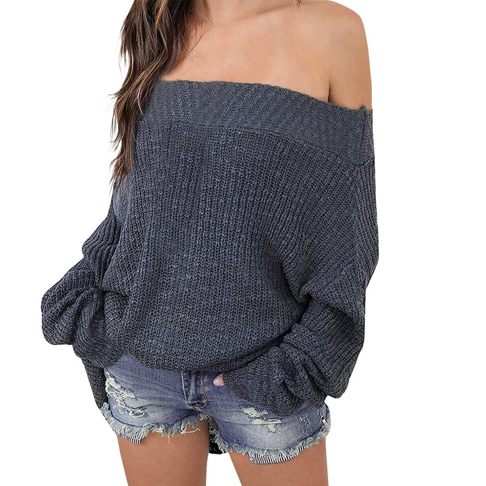 Exlura Women's Off Shoulder Batwing Sleeve Loose Oversized Pullover Sweater Knit Jumper, Grey, 2XL/3XL(18/20)