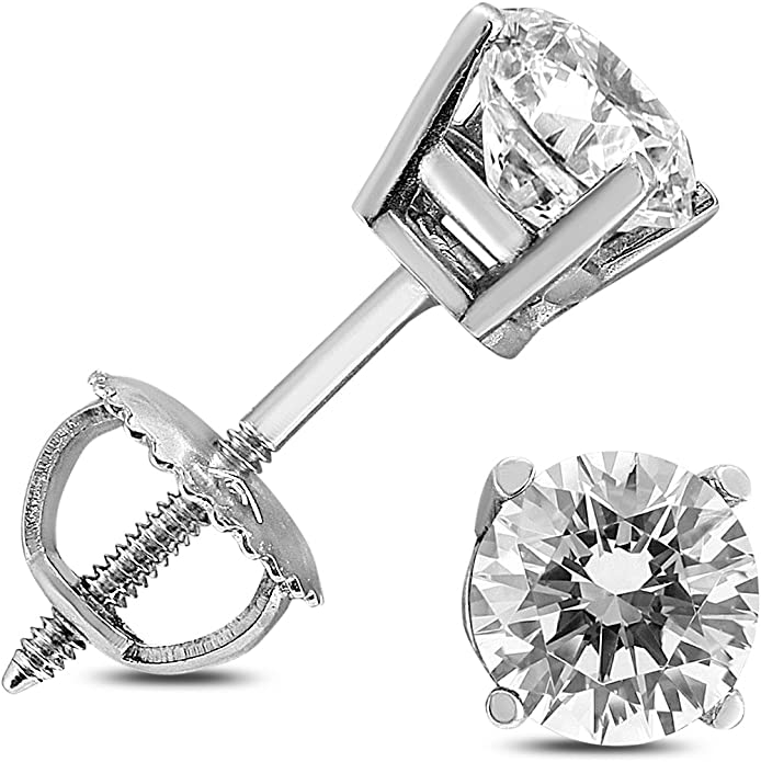 1//4 Carat TW AGS Certified Round Diamond Solitaire Stud Earrings in 14K White Gold K//L Color - I1//I2 Clarity