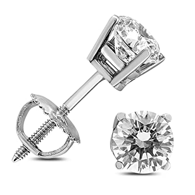 27f740ed1 Image Unavailable. Image not available for. Color: 1 Carat TW AGS Certified  Round Diamond Solitaire Stud Earrings in 14K White Gold