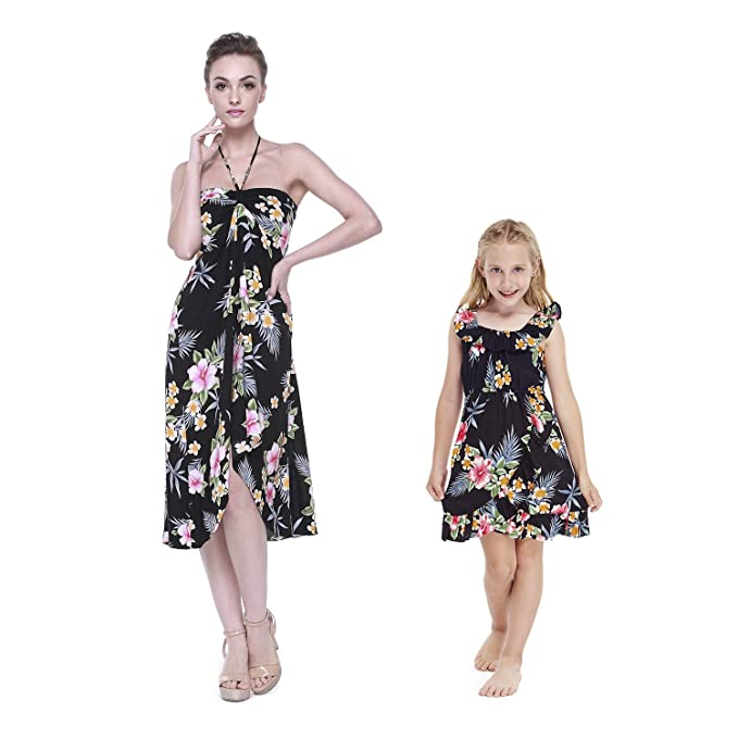 Amazon.com: Vestido a juego de la madre hawaiana Luau Halter ...