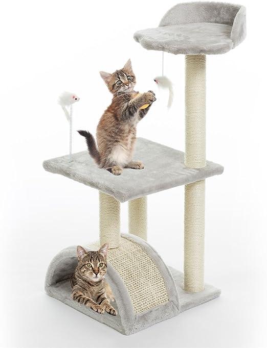 Gr8 Home - Soporte para barra de rascador para gatos, color gris y plateado, para escalada, escalada, salto, dormir, túnel o centro de actividades, para mascotas, gatitos, juguetes, rascadores: Amazon.es: Productos para