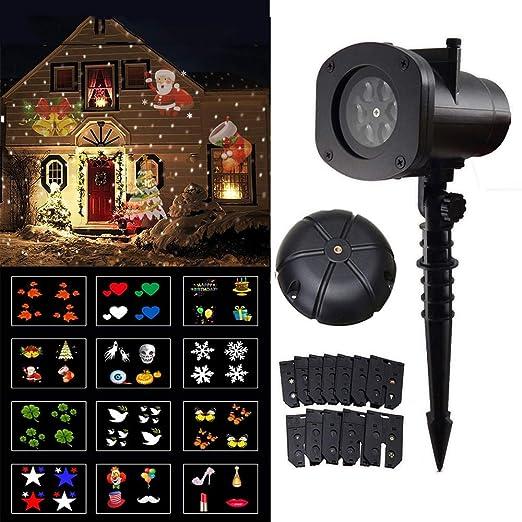 YMJJ Luces LED para proyectores de Navidad, 12 Patrones ...