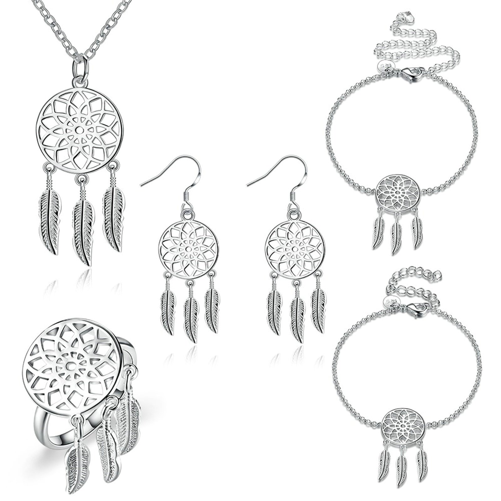 MoAndy Jewelry Set Ring Bracelet Anklet Earrings Necklace For Women Hollow Feather Silver