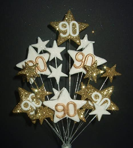 STAR AGE 90TH BIRTHDAY CAKE TOPPER IN GOLD AND WHITE Amazoncouk