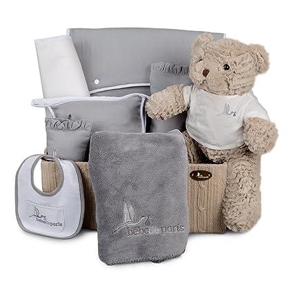 Canastilla regalo bebé en Caja de Punto Travel - set regalo para recién nacido-Incluye un bolso de paseo que puedes personalizar con el nombre del ...