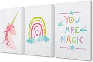 The Stupell Home Decor Collection You are Magic Rainbow and Unicorn Stretched Canvas Wall Art, 16 x 20, Multicolor