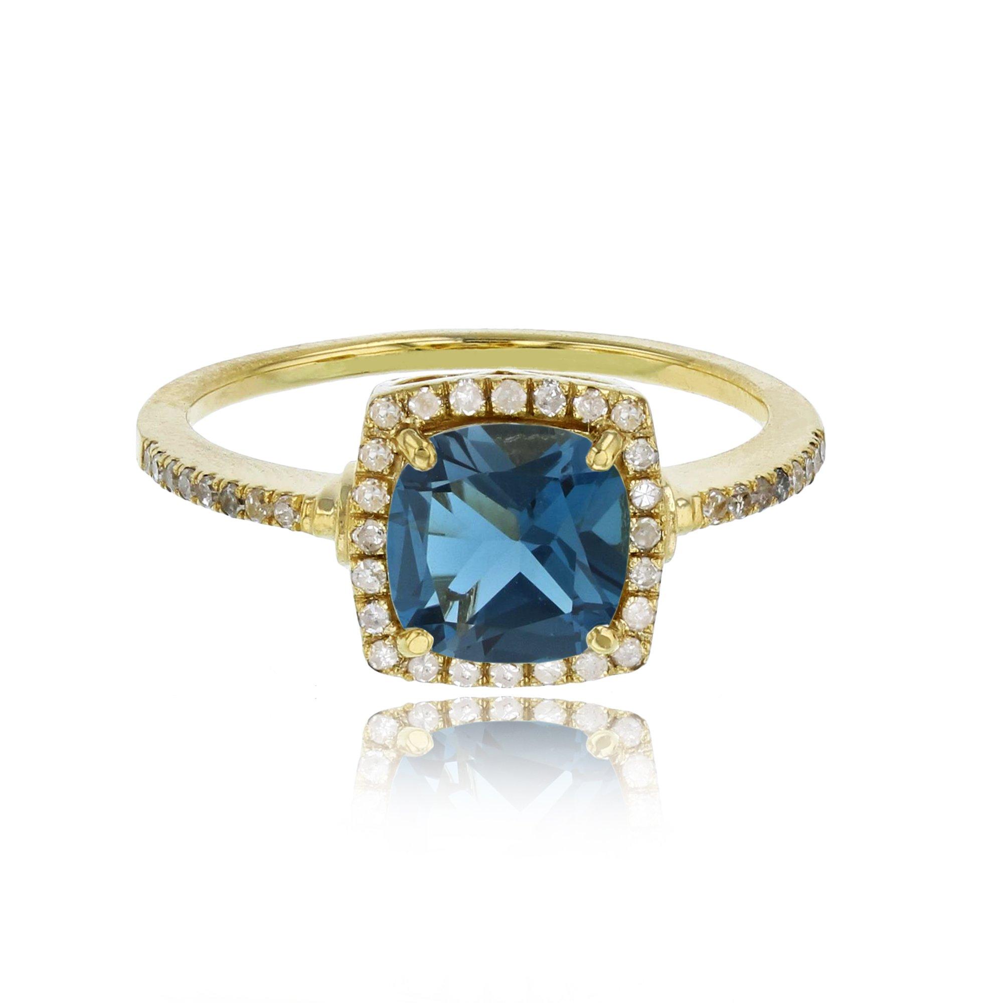 14K Yellow Gold 7mm Cushion London Blue Topaz & 0.20 CTTW Diamond Halo Ring by Decadence