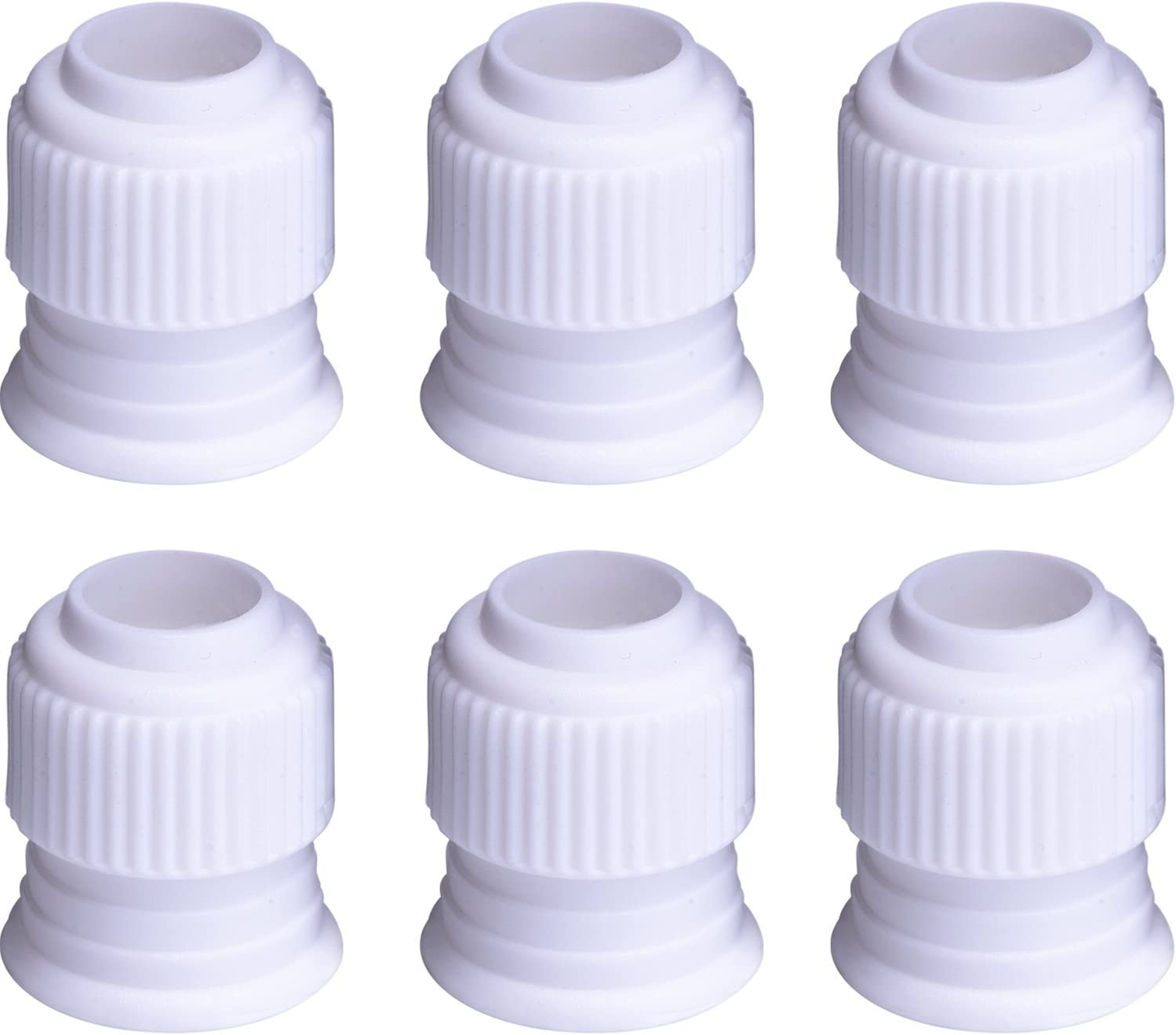 Shappy Plastic Standard Couplers Cake Decorating Coupler Pipe Tip Coupler for Icing Nozzles, White (6 Pack)