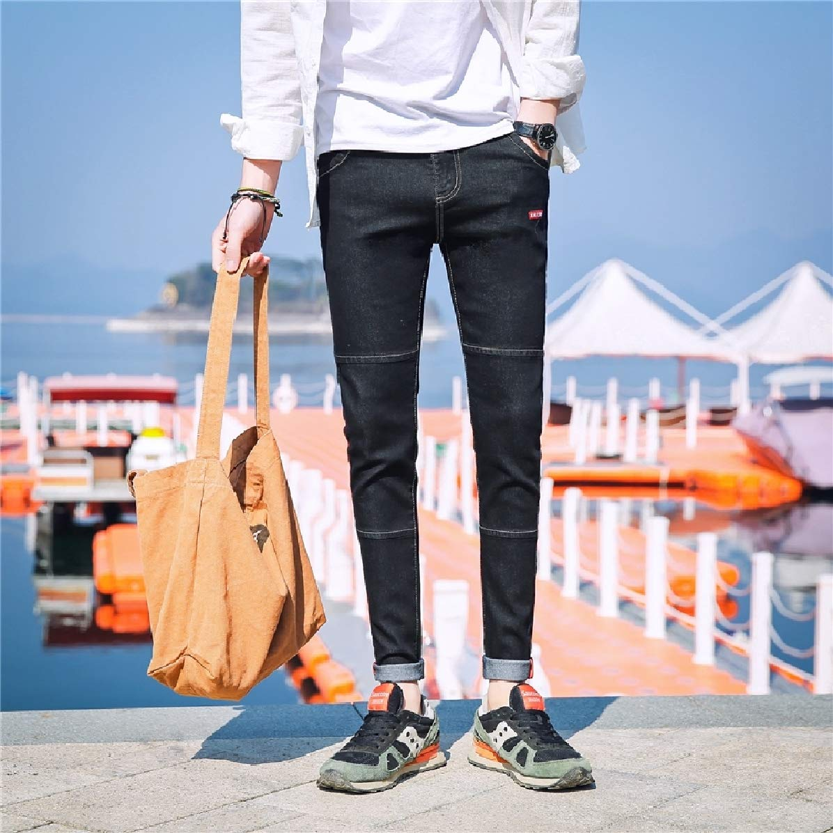 Comaba Mens Juniors Patched Denim Pants Trousers Slim Fitting Jeans