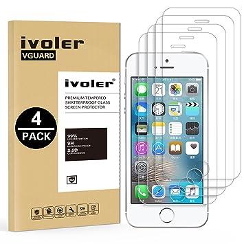 iVoler [4 Unidades] Protector de Pantalla para iPhone SE / 5S / 5 / 5C, Cristal Vidrio Templado Premium [9H Dureza] [Alta Definicion 0.3mm] [2.5D ...