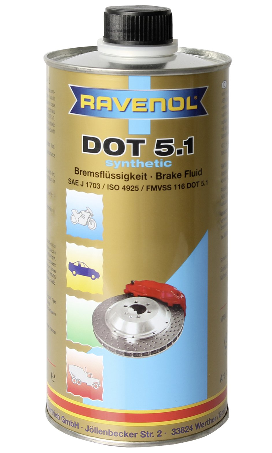 Ravenol J3A1001 Brake Fluid - DOT 5.1 SAE J1703 Synthetic (1 Liter) by Ravenol