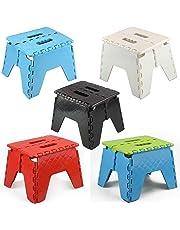 ASAB® Small Folding Step Stool Plastic Multi Purpose Slip Resistant Top Step Foldable Easy Storage Home Kitchen Max Load 150kg - 25 x 21 x 21cm