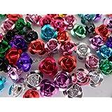 Confezione da 50 perline in alluminio, multicolori, a forma di rosa, 7 mm