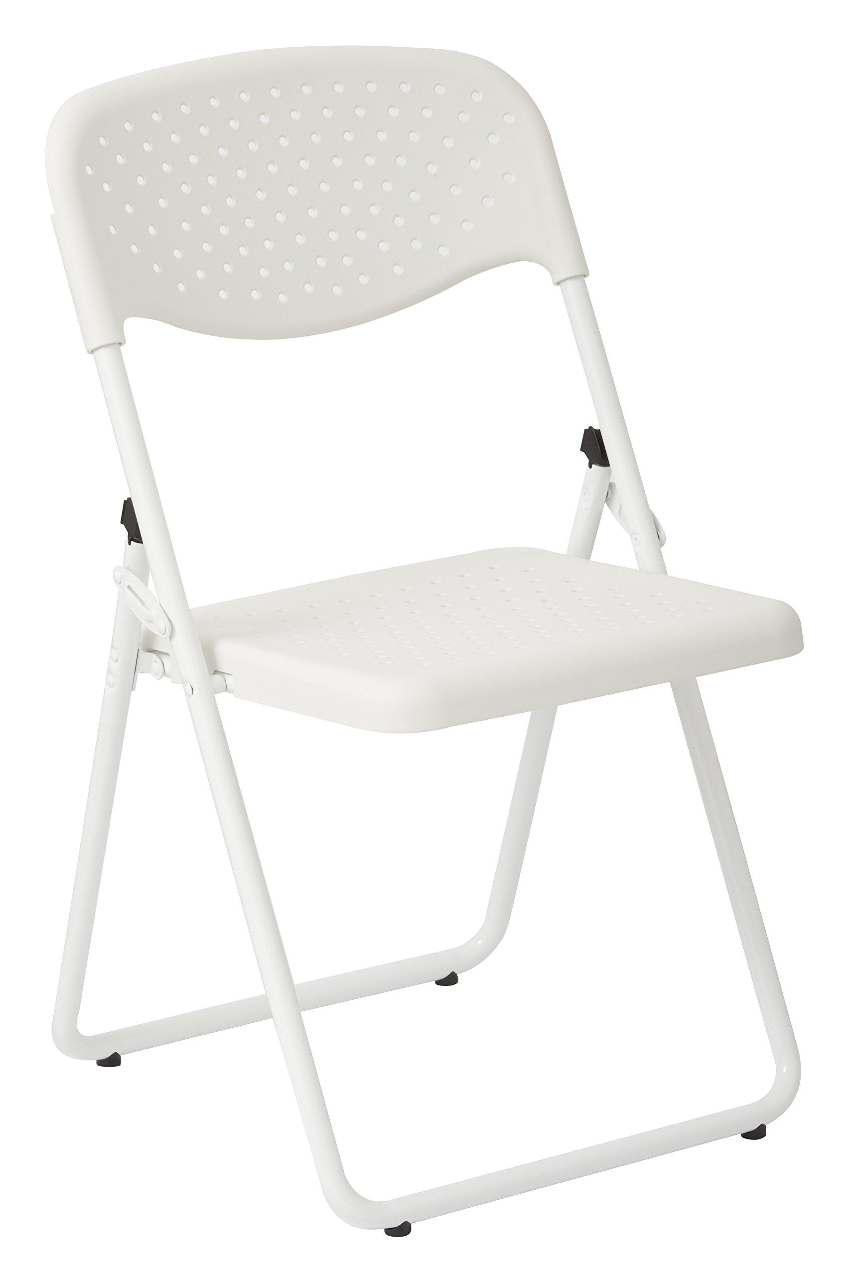 Work Smart Frame Folding Chair, White