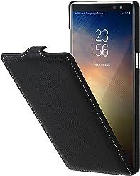 StilGut UltraSlim Case, Custodia Flip Case per Samsung Note 8 Cover Verticale in Vera Pelle Pregiata, Nero