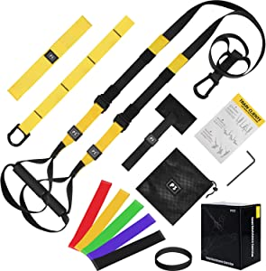 YESURPRISE Bodyweight Resistance Training Kit, Home Gym Strength Resistance Training Straps for Full-Body Workout, Included Resistance Loop Bands, Door Anchor, Extension Strap, Fitness Guide