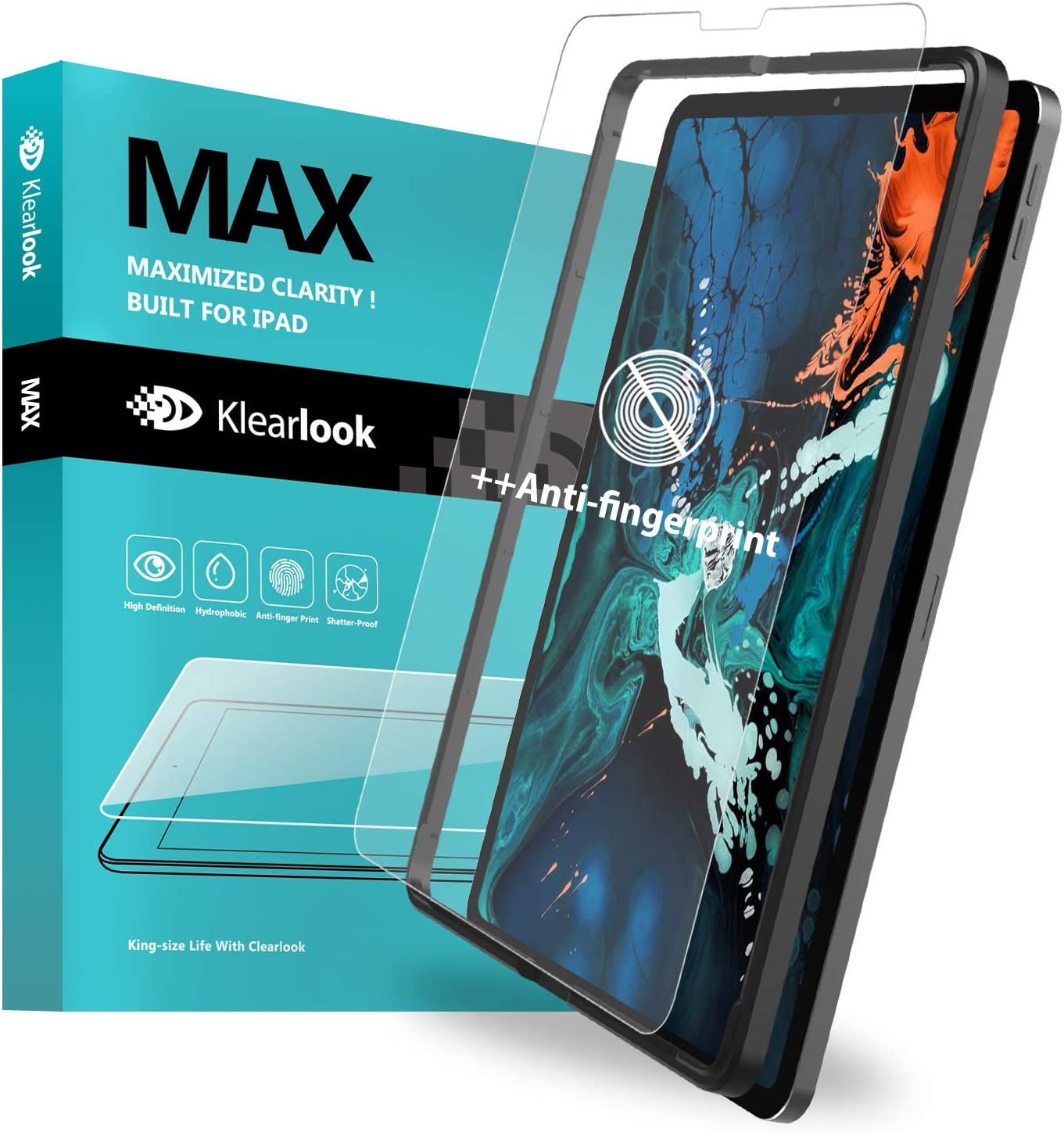 """Klearlook Matte Screen Protector Compatible with 2020/2018 (i)Pad Pro 12.9 inch, Tempered Glass Protector Anti Glare [Face ID Workable][With Easy Install Tool] [Case-Friendly] for 2020 (i)Pad Pro 12.9"""""""
