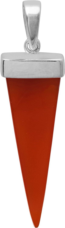 Shine Jewel Colgante hecho a mano de piedras preciosas de ónix rojo colgante de plata de ley 925 en forma de cono para mujer Bruja Red Onyx Blanco