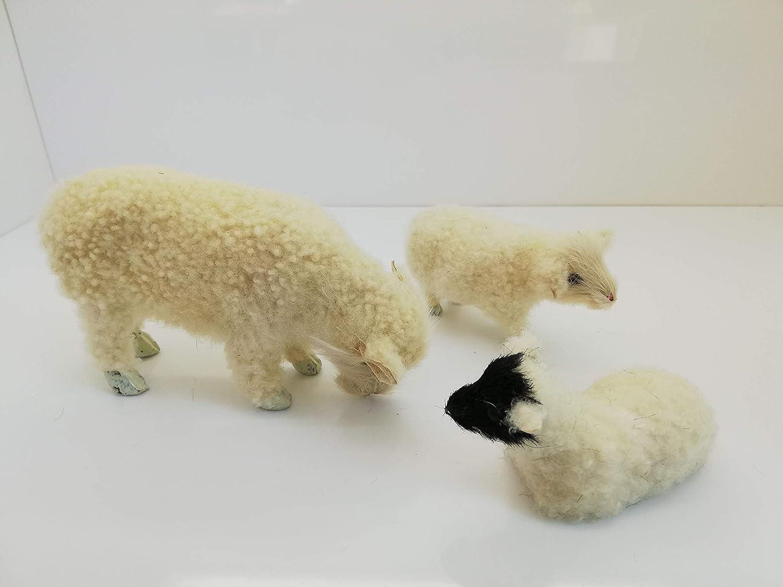 Schaf mit Glocke ca 4,2 cm hoch für Krippenfiguren Größe 10 cm Holz bemalt Si
