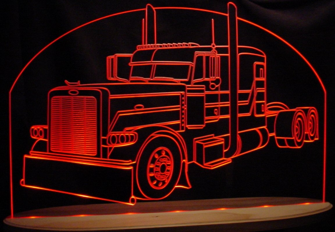 Semi Truck Pblt Acrylic Lighted Edge Lit LED Awesome 21'' Sign Light Up Plaque VVD15 Made in USA by ValleyDesignsND
