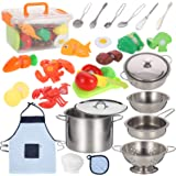 Jogotoll Kitchen Pretend Play Accessories Toys with Stainless Steel Cookware Pots and Pans Set, Cooking Utensils, Apron & Che