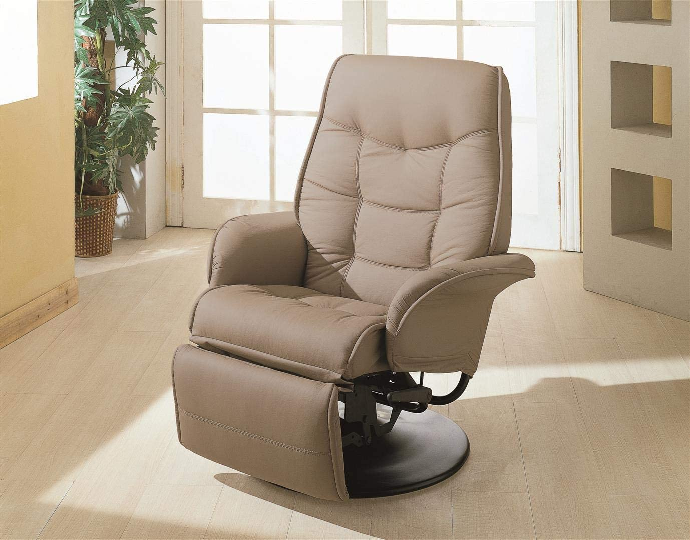 Coaster Home Furnishings Alvaro Swivel Recliner with Flared Arms Beige,