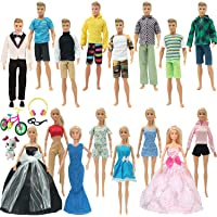 SOTOGO 31 Pieces Doll Clothes Set for 11.5 Inch Girl Boy Doll Include 16 Set Doll Groom Suit, Wedding Dress, Casual Wearing Clothes, Bicycle, Glasses, Dog, Headphone