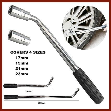 Brazo telescópico extensible para ruedas (17, 19, 21, 23 mm, neumático, llave de tuercas, para coches, con herramienta de remoción): Amazon.es: Coche y moto