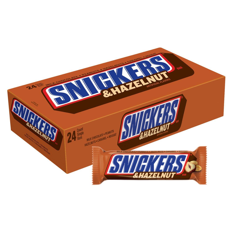 amazon com snickers hazelnut singles size chocolate candy bars