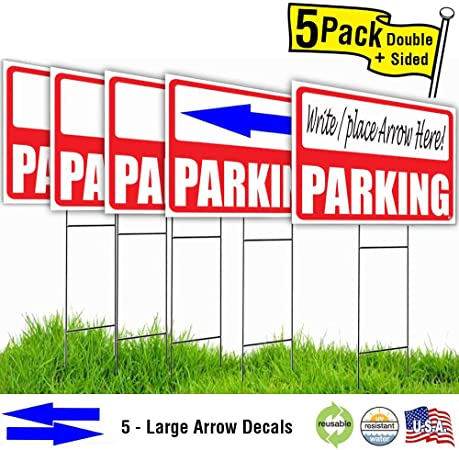 Amazon.com: 24 x 18 Parking Césped Sign Kit con marcador ...