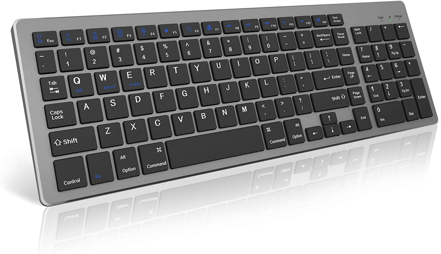 Linwinco Bluetooth Keyboard for Mac,Windows,iPad,Surface,Tablet,Android Rechargeable Slim Full Size Keyboard