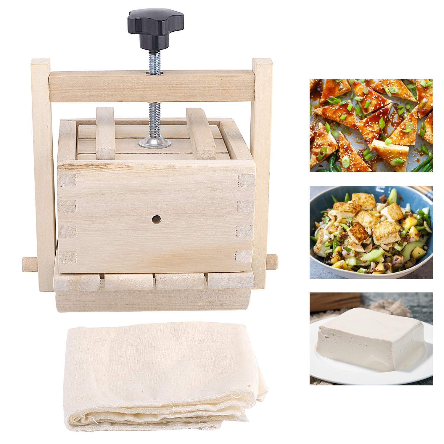 Inkesky Tofu Maker & Press, 2-In-1 Kit, Made Of Wood by Inkesky