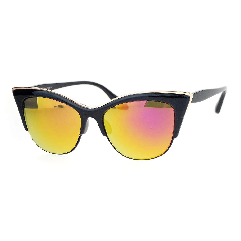 d57145c773 SA106 Womens High Point Squared Half Rim Look Cat Eye Sunglasses Black  Fuchsia  Amazon.co.uk  Clothing