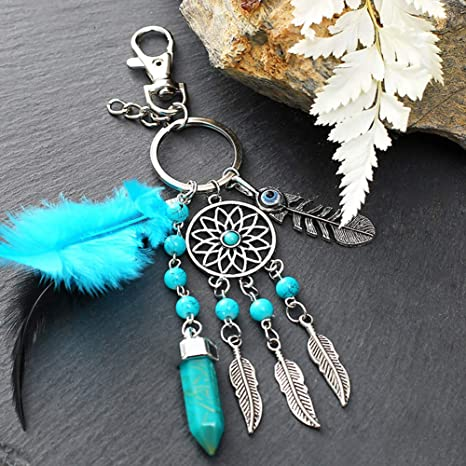 Amazon.com: Dsaren Dream Catcher Keychain Boho Dreamcatcher ...