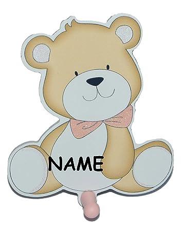 Garderobenhaken incl. Namen - Teddybär - aus Holz rosa Kinder mit 1 ...
