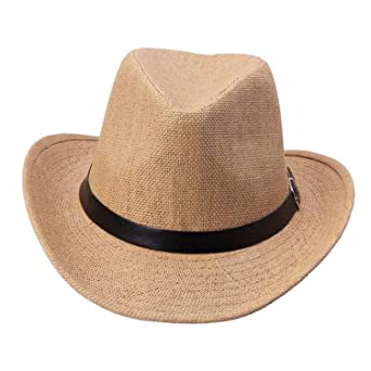 CAOBOO Mens Cap Straw Hat Cowboy Hat Gorras Hombre Stylish Hats for Men A at Amazon Mens Clothing store: