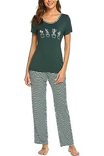52f215a221 Hotouch Womens Cute Cartoon Print Tee and Striped Shorts Pajama Set  Sleepwear Pjs