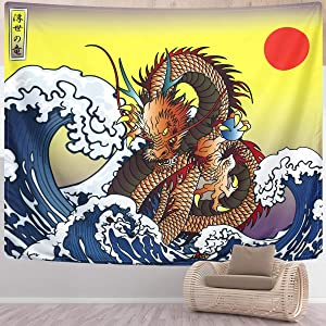 SENYYI Japanese Ukiyo-e Tapestry Wall Hanging Great Wave Kanagawa Tapestry Ocean Sunset Tapestry 3D Dragon Home Decor for Room (59.1 x 82.7 inches)