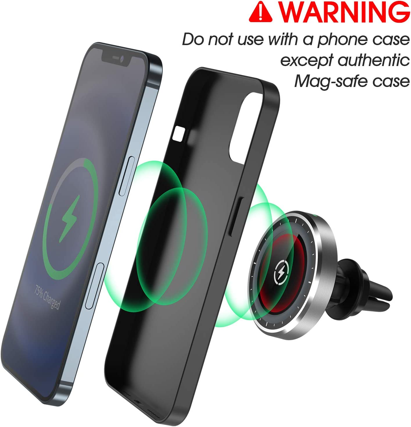 Magnetic Wireless Car Charger,Hohosb Mag-Safe Wireless Car Charger Magnetic Attachment and Alignment Compatible with iPhone 12//12 Pro//12 mini//12 Pro Max Air Vent Car Mount -S8-Round-Silver
