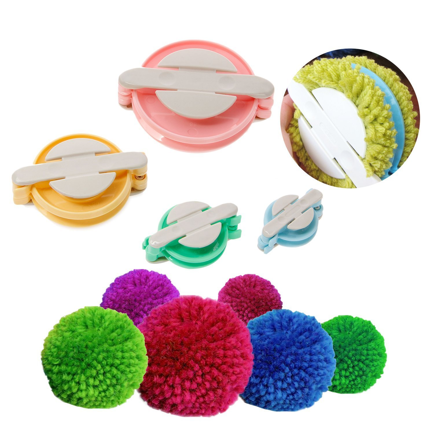 Dometool Pompom Maker for Fluff Ball DIY Weaver Needle Wool Knitting Craft Tool Set 4 Size DML008