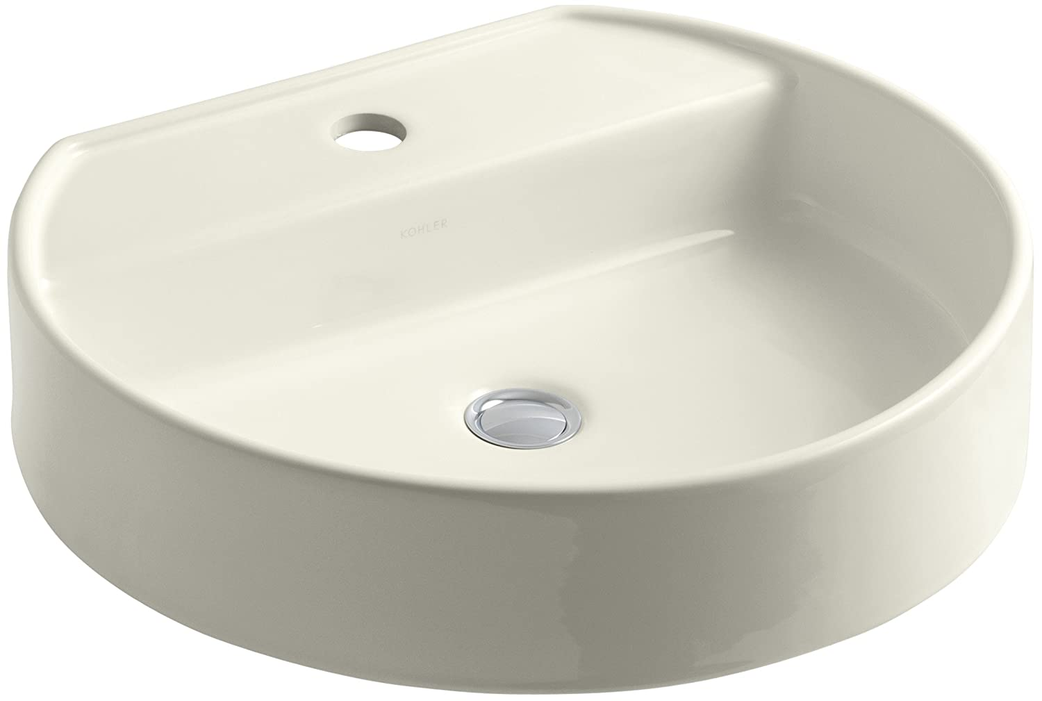 KOHLER K-2331-1-96 Chord Wading Pool Bathroom Sink with Single-Hole Faucet Drilling, Biscuit