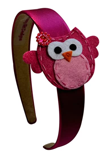 Felt Owl Childrens Headband (Hot Pink)