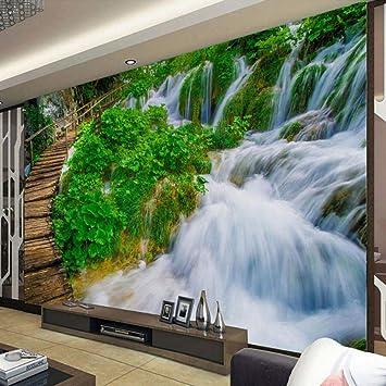 Fotomurales Cascada, Escalera Papel Pintado Fotomural 3D Tejido no tejido Foto Póster para Habitación Salon Oficina Baño Cocina Decoración Murales 350CMx245CM: Amazon.es: Bricolaje y herramientas