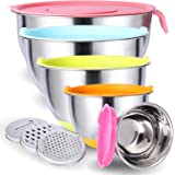 Mixing Bowls with Lids Set, 6 Piece Stainless Steel Metal Bowls for Kitchen,3 Grater Attachments, Measurement Marks…