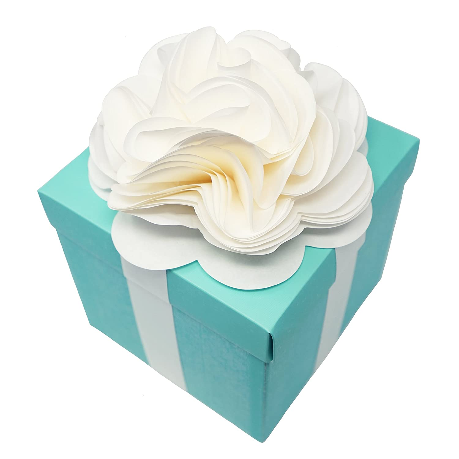 Amazon.com: Robin Egg Aqua Blue Wedding Centerpiece Favor Box with ...