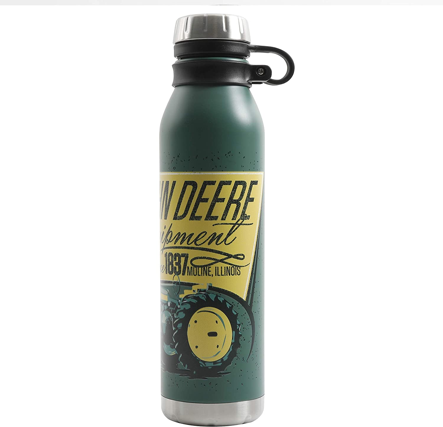 Gibson John Deere Thermal Double Wall Stainless Steel, 22.5oz Original Tractor Bottle, Green