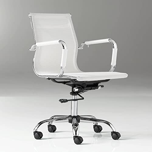 Studio 55D Lealand White and Chrome Low Back Desk Chair