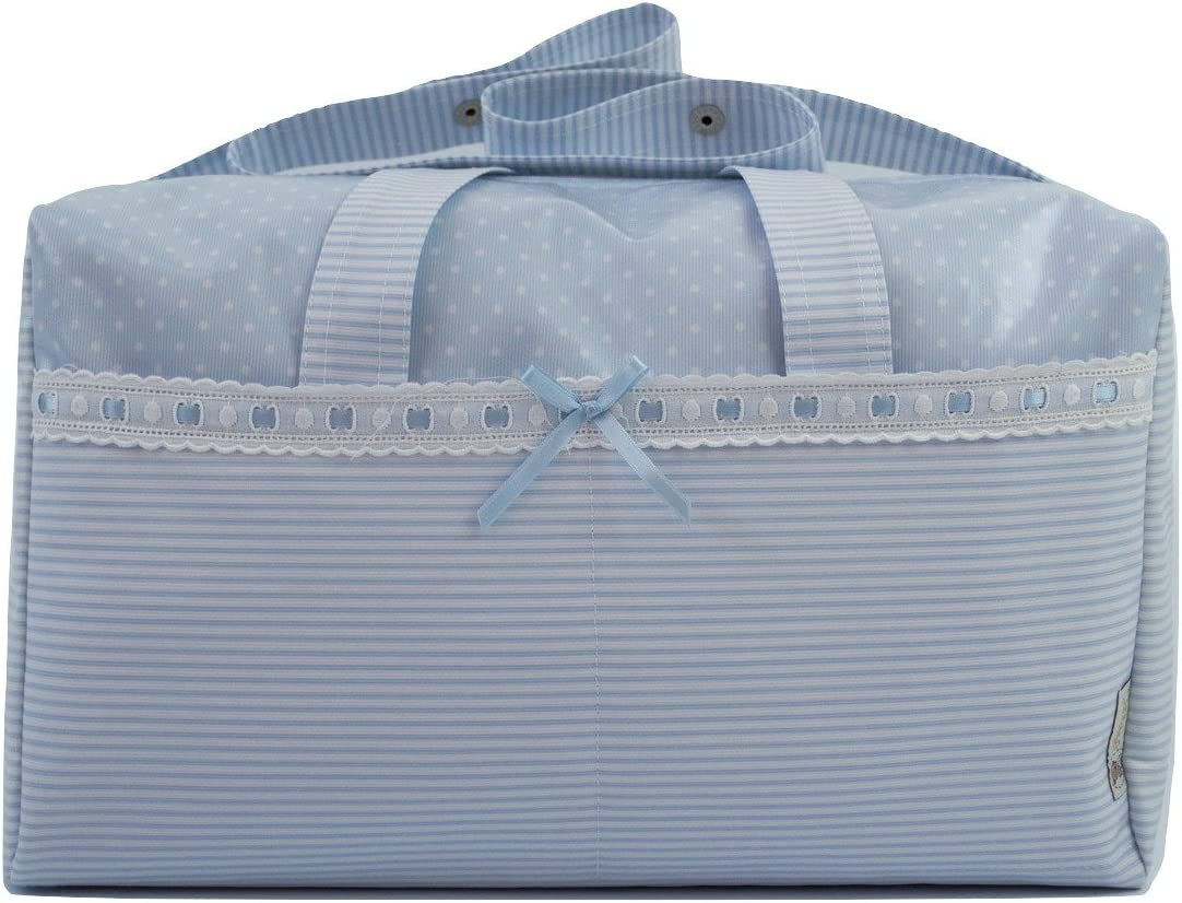 BOLSO MATERNAL PLASTIFICADO tipo maleta BORDADO CON EL NOMBRE DEL BEB/É Azul Varios modelos disponibles. Modelo Verona