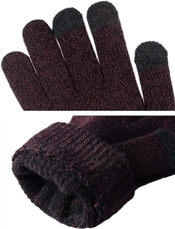 Abollria Set Pacco da 3 Coordinati Invernali Unisex Cappello Berretto Invernale da Uomo /& Sciarpa Invernale /& Guanti Invernali Touch Screen
