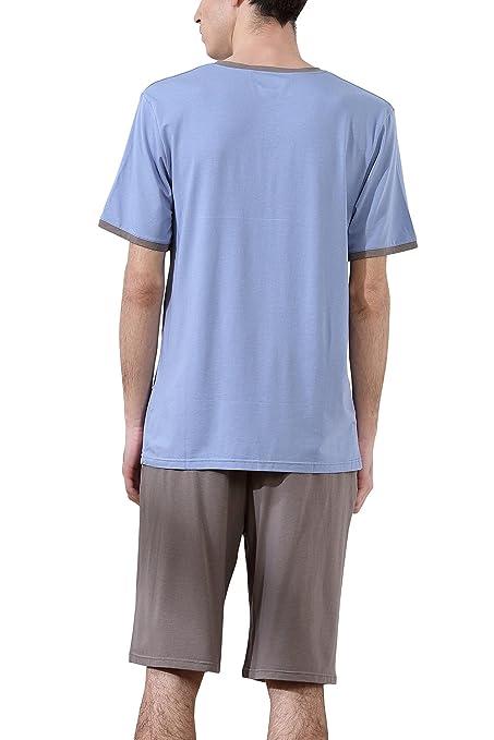 Dolamen Pijamas para Hombre, Pijamas Hombre Primavera verano, Hombre camisones deportes Corta, 100% Algodón suave y cálido Manga Corta y pantalones Cortos: ...